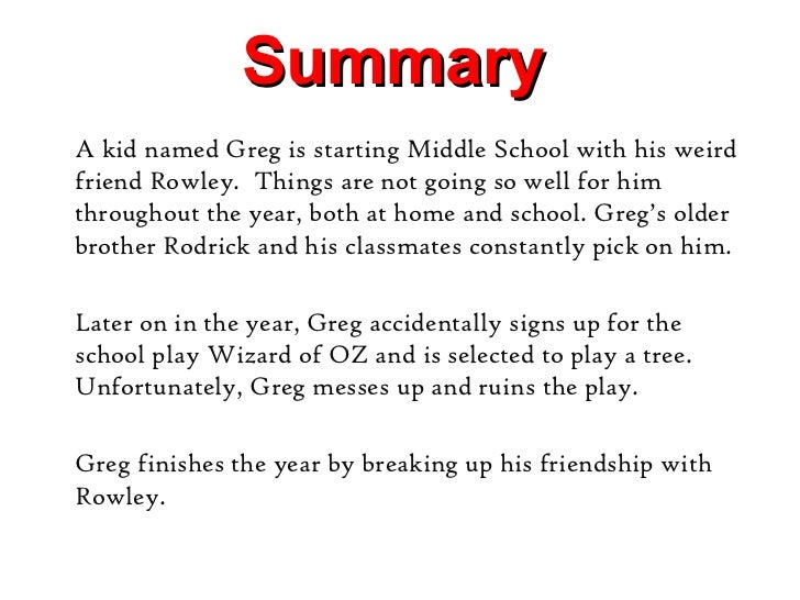 Diary of a wimpy kid summary book 4