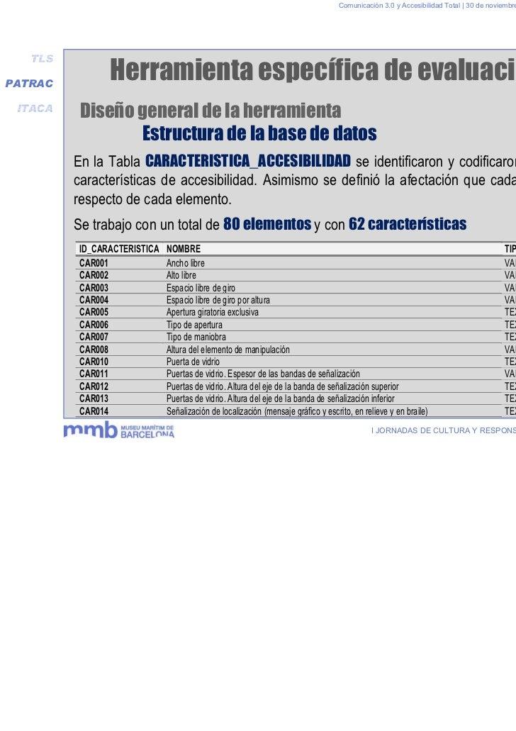 Comunicación 3.0 y Accesibilidad Total | 30 de noviembre y 1 de diciembre 2011   TLSPATRAC                Herramienta espe...