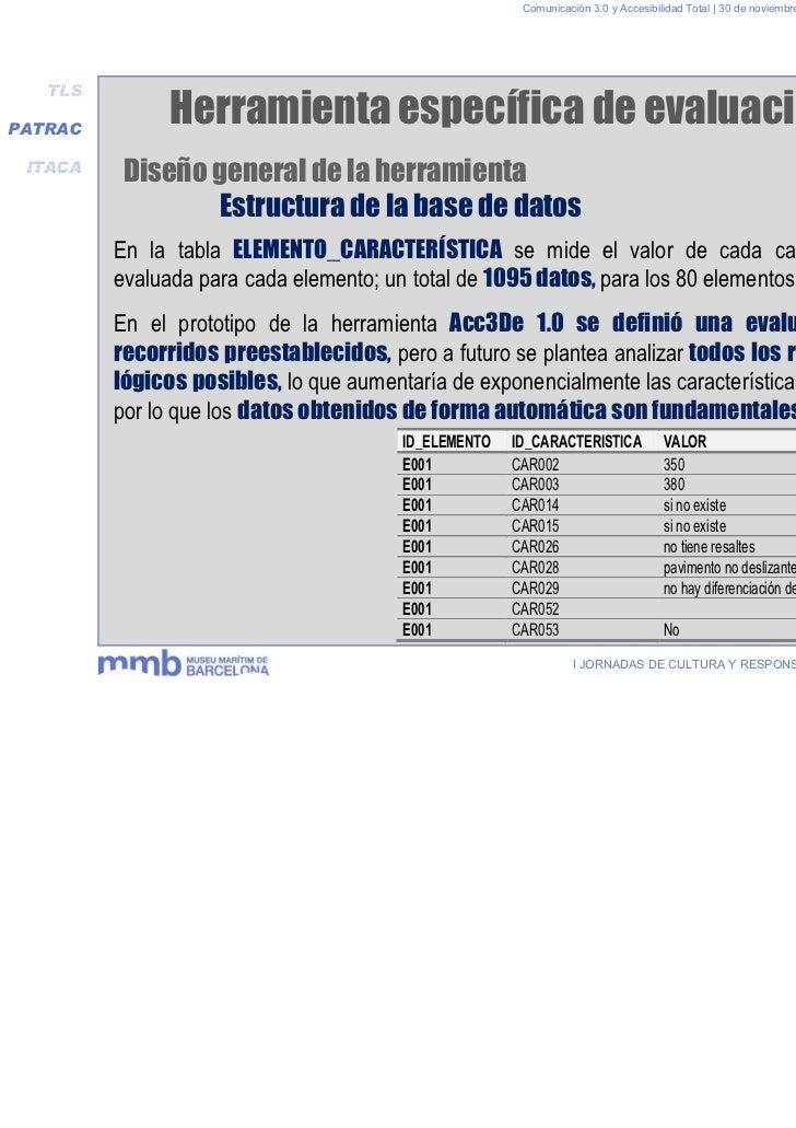 Comunicación 3.0 y Accesibilidad Total | 30 de noviembre y 1 de diciembre 2011   TLSPATRAC               Herramienta espec...