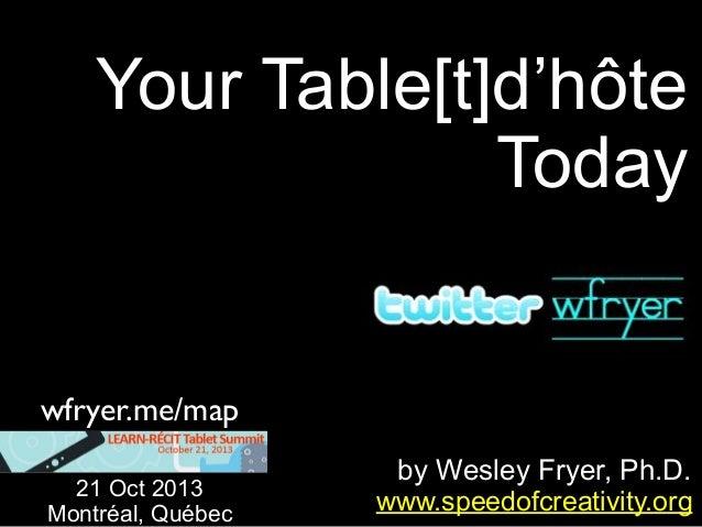 Your Table[t]d'hôte Today  wfryer.me/map 21 Oct 2013 Montréal, Québec  by Wesley Fryer, Ph.D. www.speedofcreativity.org