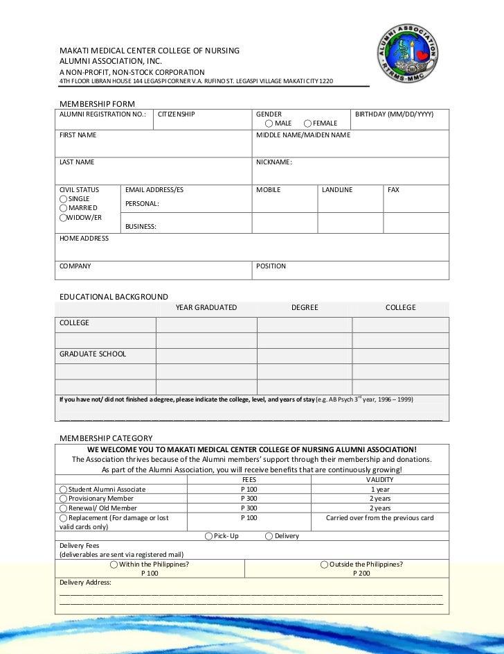 mmccn alumni membership form. Black Bedroom Furniture Sets. Home Design Ideas