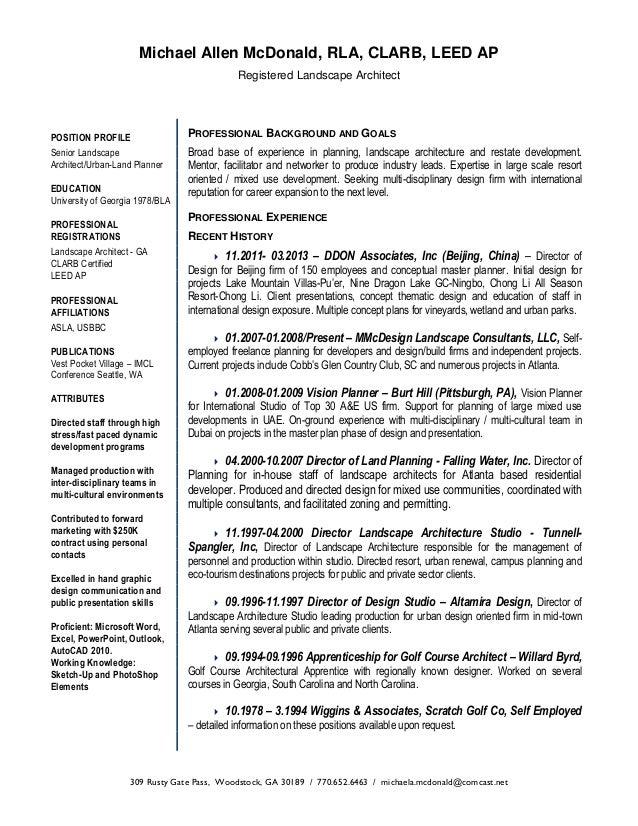 Mmcdesign 2013 Resume .  Landscaping Resume
