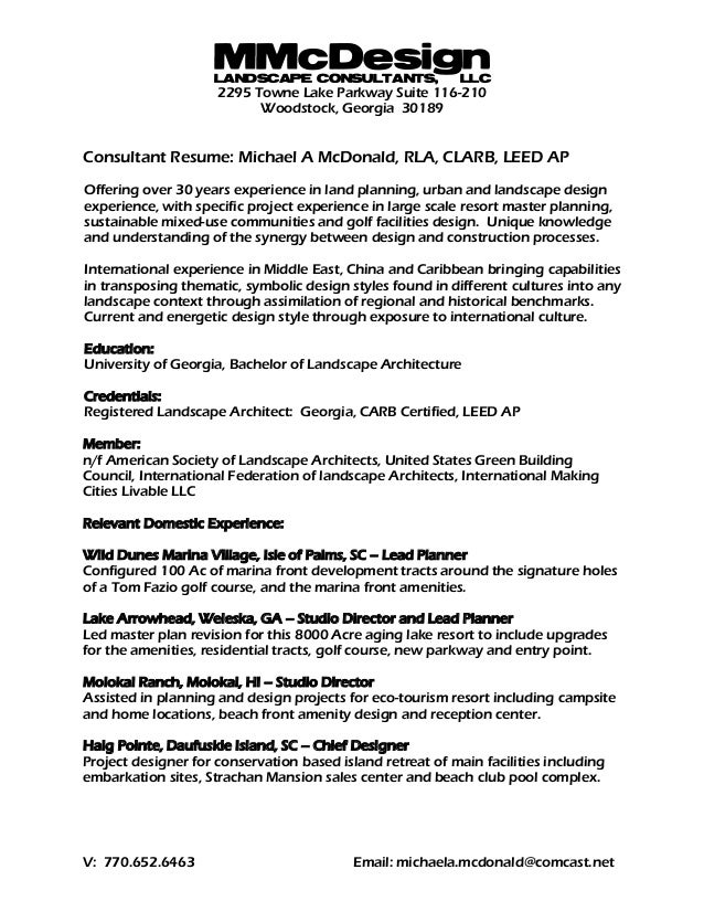 m mc d consultant resume template