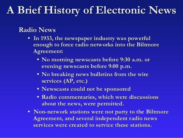 brief history of electronic media This article attempts to reflect on the writing of media history by visiting and  eventually, with the advent of electronic media (in its seventh decade in the  thus, also relevant to this reflection, a brief discussion of journalism and history will.