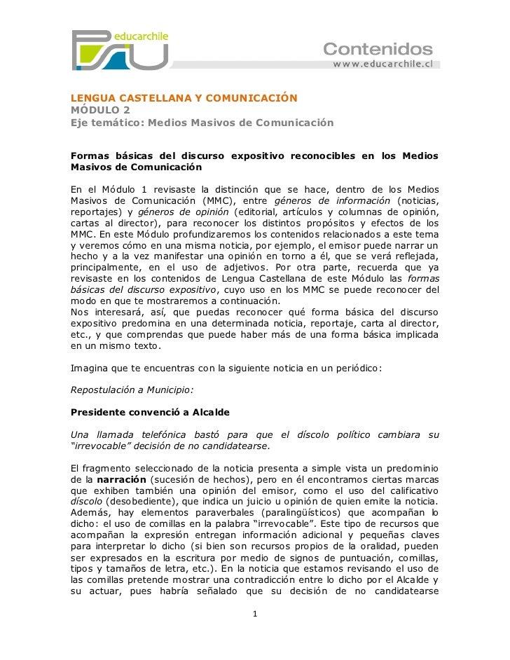 LENGUA CASTELLANA Y COMUNICACIÓNMÓDULO 2Eje temático: Medios Masivos de ComunicaciónFormas básicas del discurso expositivo...