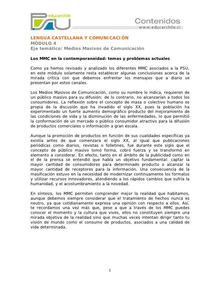 LENGUA CASTELLANA Y COMUNICACIÓNMÓDULO 4Eje temático: Medios Masivos de ComunicaciónLos MMC en la contemporaneidad: temas ...
