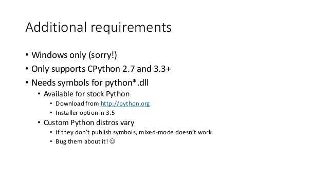 Mixed-language Python/C++ debugging with Python Tools for