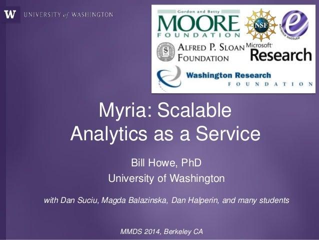 Myria: Scalable Analytics as a Service Bill Howe, PhD University of Washington with Dan Suciu, Magda Balazinska, Dan Halpe...