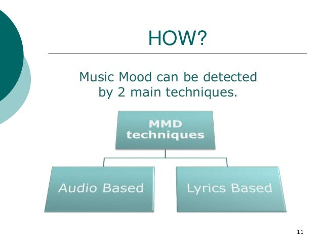 HOW? Music Mood can be detected by 2 main techniques. 11