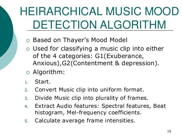 HEIRARCHICAL MUSIC MOOD DETECTION ALGORITHM 1. Start. 2. Convert Music clip into uniform format. 3. Divide Music clip into...