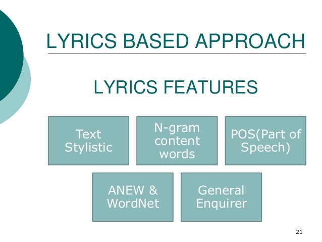 LYRICS FEATURES Text Stylistic N-gram content words POS(Part of Speech) ANEW & WordNet General Enquirer LYRICS BASED APPRO...
