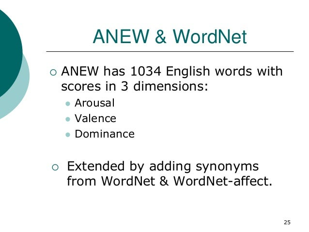 ANEW & WordNet  ANEW has 1034 English words with scores in 3 dimensions:  Arousal  Valence  Dominance  Extended by ad...