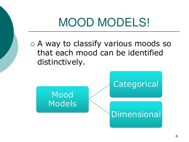 MOOD MODELS!  A way to classify various moods so that each mood can be identified distinctively. Mood Models Categorical ...