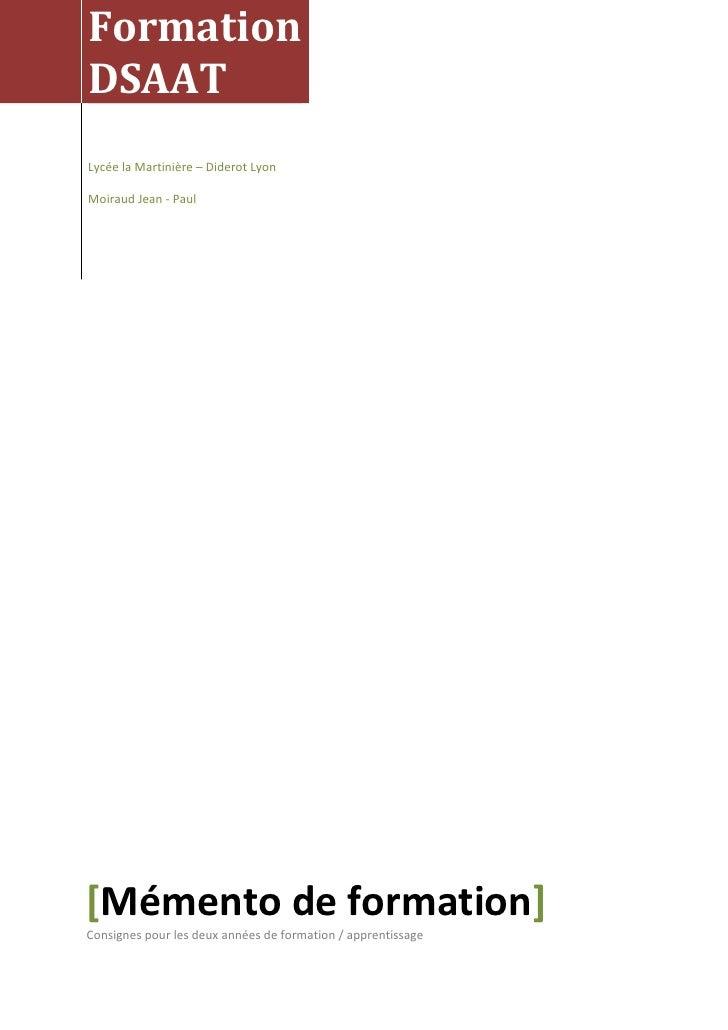 Formation DSAAT Lycée la Martinière – Diderot Lyon  Moiraud Jean - Paul     [Mémento de formation] Consignes pour les deux...