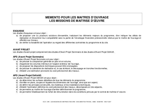 ECA - CRA - LES MISSIONS DE MAITRISE D'OEUVRE - DOCUMENT DE TRAVAIL - IMBE - NOBATEK - AOUT 2007 MEMENTO POUR LES MAITRES ...