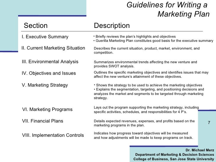 Marvelous ... 7. Guidelines For Writing A Marketing Plan ...