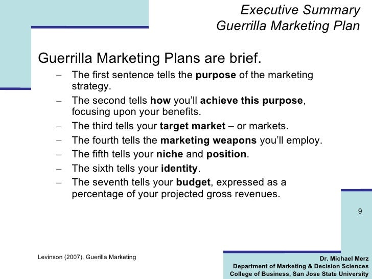 developing guerrilla marketing strategy marketing essay There are many benefits to a carefully planned marketing strategy here are tips on building a plan for your business.