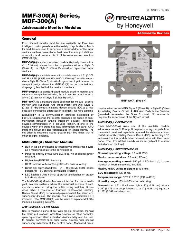 DF-52121:C • E-325MMF-300(A) Series,MDF-300(A)Addressable Monitor Modules                                                 ...