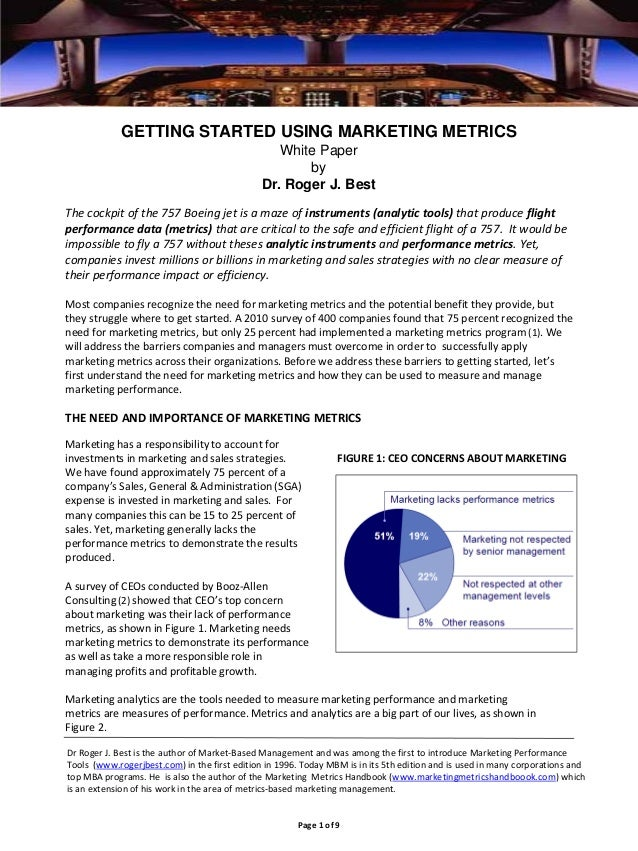 GETTING STARTED USING MARKETING METRICS White Paper by Dr. Roger J. Best The cockpit of the 757 Boeing jet is a maze of in...