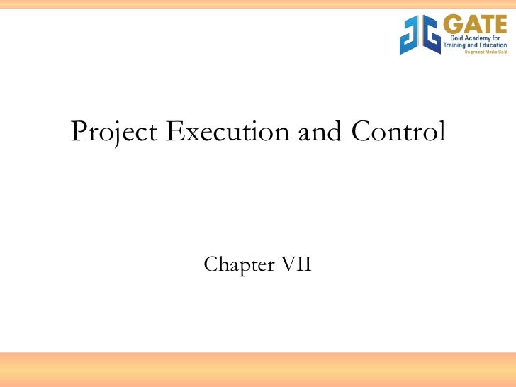 Project Execution and Control Chapter VII