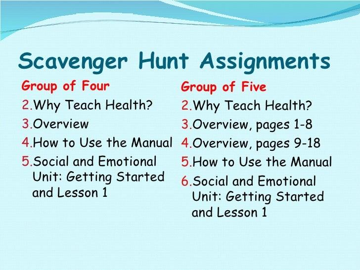 Scavenger Hunt Assignments <ul><li>Group of Four </li></ul><ul><li>Why Teach Health? </li></ul><ul><li>Overview </li></ul>...