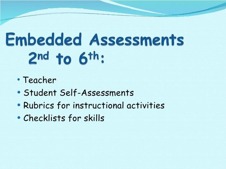 <ul><ul><li>Teacher  </li></ul></ul><ul><ul><li>Student Self-Assessments </li></ul></ul><ul><ul><li>Rubrics for instructio...