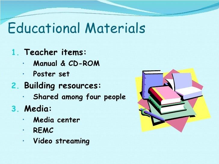 Educational Materials <ul><li>Teacher items: </li></ul><ul><ul><li>Manual & CD-ROM </li></ul></ul><ul><ul><li>Poster set <...