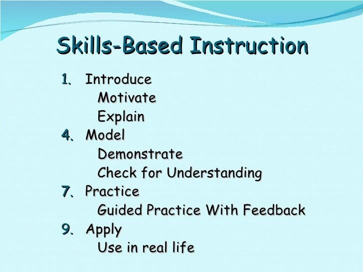 Skills-Based Instruction <ul><li>Introduce </li></ul><ul><li>Motivate </li></ul><ul><li>Explain </li></ul><ul><li>Model </...