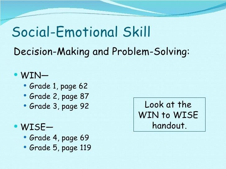 Social-Emotional Skill <ul><li>Decision-Making and Problem-Solving: </li></ul><ul><li>WIN— </li></ul><ul><ul><li>Grade 1, ...