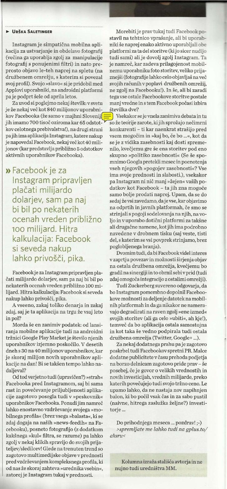 ~ URSKA SALETINGER                                     Morebitije pray tukaj tudi Faceboo - po-                           ...
