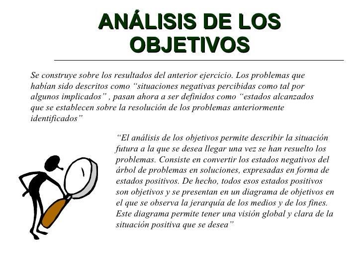 ANÁLISIS DE LOS OBJETIVOS Se construye sobre los resultados del anterior ejercicio. Los problemas que habían sido descrito...