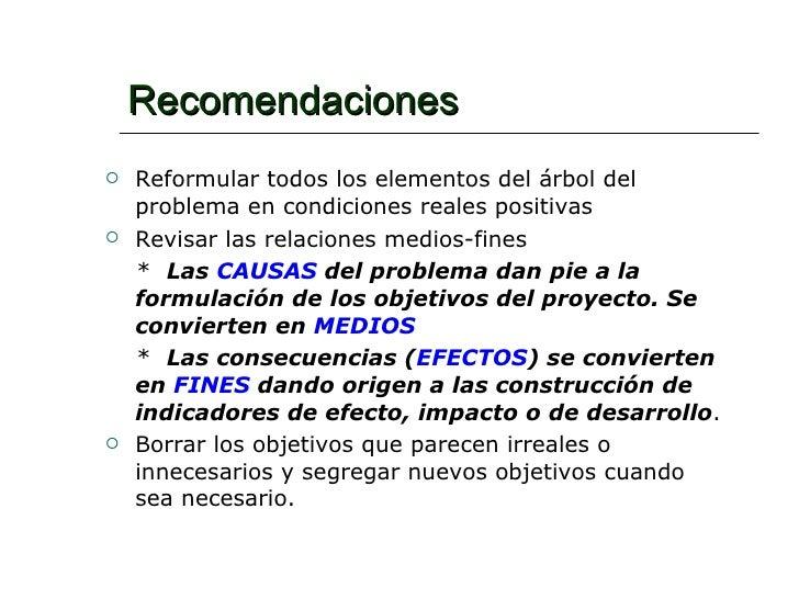 Recomendaciones <ul><li>Reformular todos los elementos del árbol del problema en condiciones reales positivas </li></ul><u...