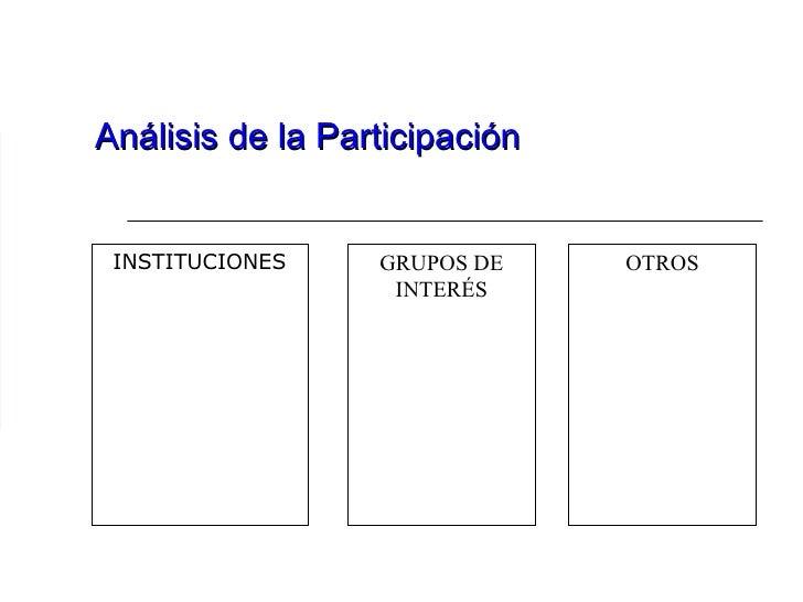 Análisis de la Participación INSTITUCIONES GRUPOS DE INTERÉS OTROS