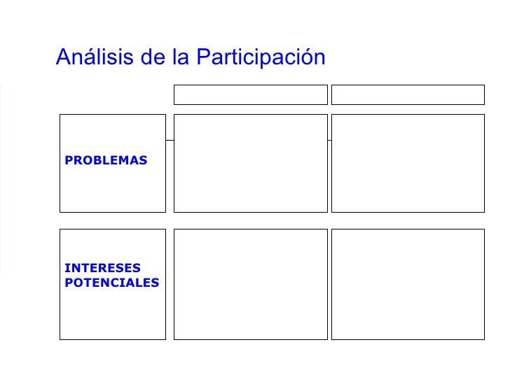 Análisis de la Participación PROBLEMAS INTERESES POTENCIALES