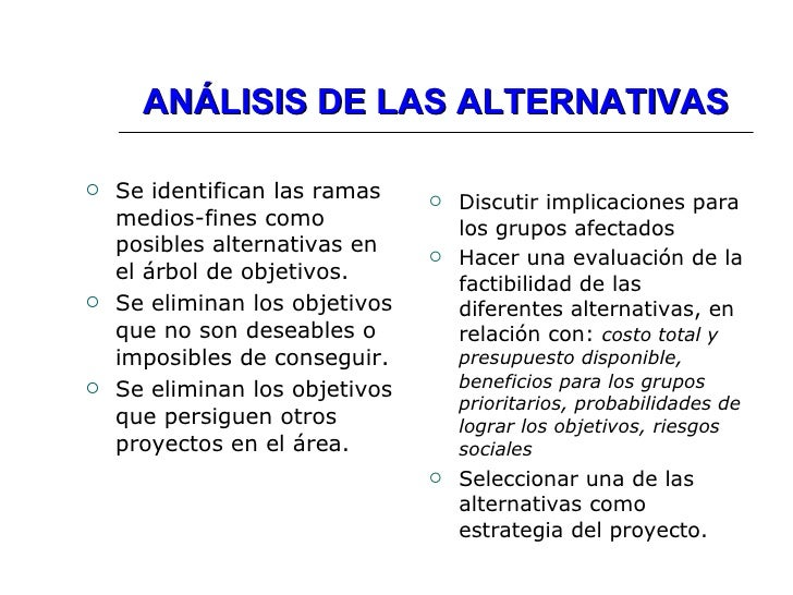 ANÁLISIS DE LAS ALTERNATIVAS <ul><li>Se identifican las ramas medios-fines como posibles alternativas en el árbol de objet...