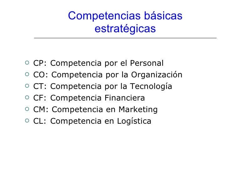 Competencias básicas estratégicas <ul><li>CP:  Competencia por el Personal </li></ul><ul><li>CO: Competencia por la Organi...