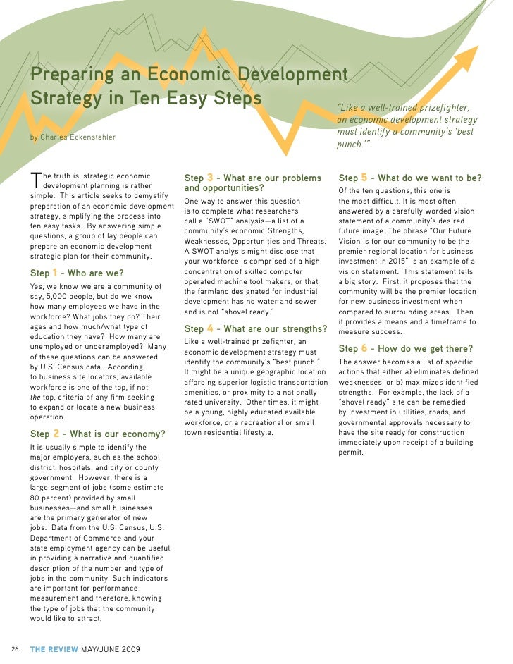"""Preparing an Economic Development      Strategy in Ten Easy Steps     """"Like a well-trained prizefighter,                  ..."""
