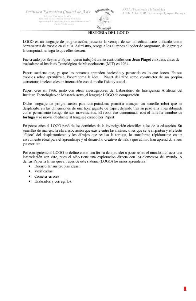 ÁREA: Tecnología e Informática APLICADA POR: Guadalupe Quijano BedoyaInstituto Educativo Ciudad de Asís Religiosa Francisc...