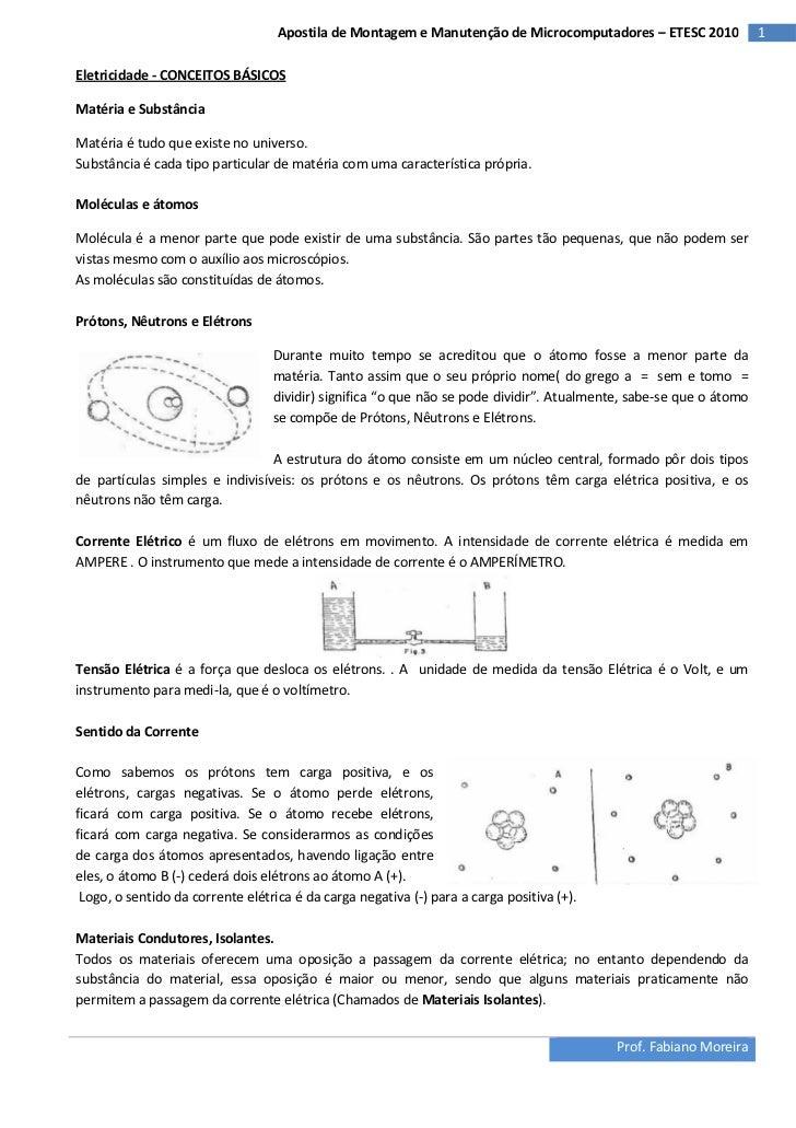 Apostila de Montagem e Manutenção de Microcomputadores – ETESC 2010              1Eletricidade - CONCEITOS BÁSICOSMatéria ...
