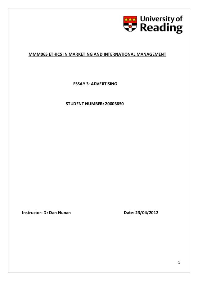 Business Ethics Essay For Masters Mmm Ethics In Marketing And International Management