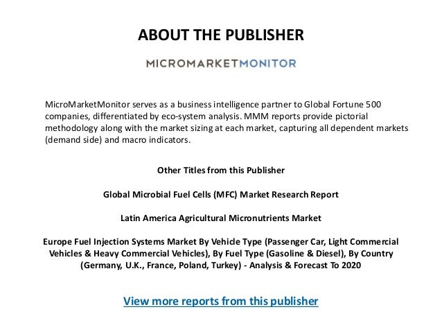 ABOUT THE PUBLISHER MicroMarketMonitor serves as a business intelligence partner to Global Fortune 500 companies, differen...