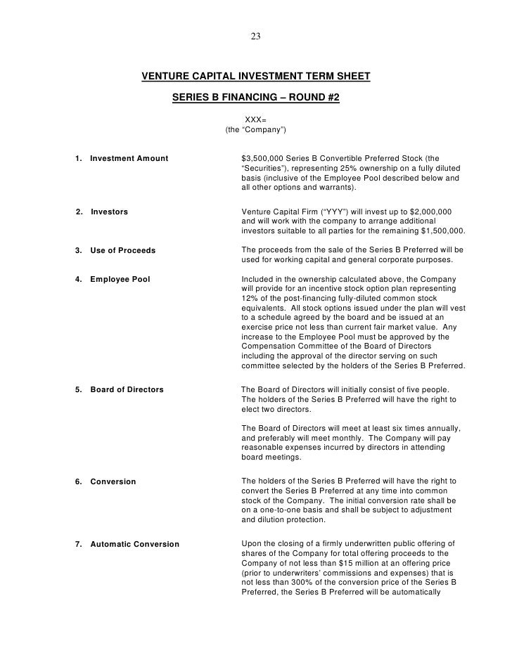 Venture capital investment guide for Investor term sheet template