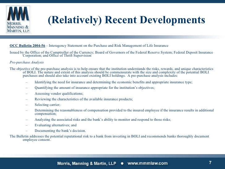 (Relatively) Recent Developments <ul><li>OCC Bulletin 2004-56  – Interagency Statement on the Purchase and Risk Management...