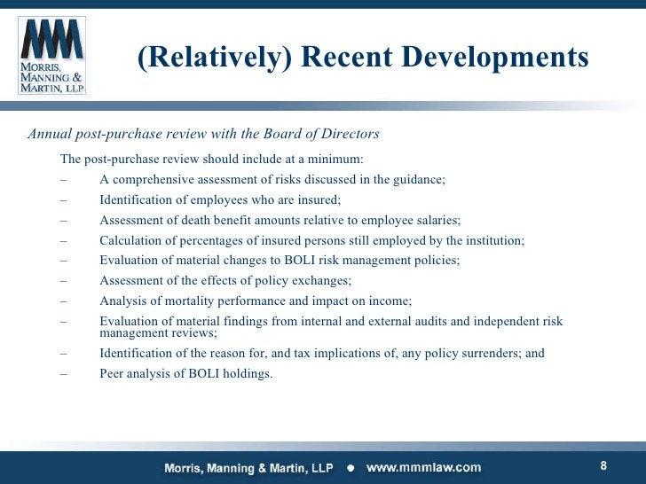(Relatively) Recent Developments <ul><li>Annual post-purchase review with the Board of Directors </li></ul><ul><ul><li>The...