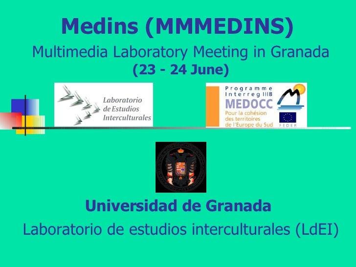 Medins (MMMEDINS)  Multimedia Laboratory Meeting in Granada   (23 - 24 June) Universidad de Granada   Laboratorio de estud...