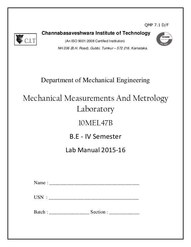 mmm lab manual 10 mel47b rh slideshare net Mechanical Measurements Solution Manual Mechanical Measurements 5th Edition PDF