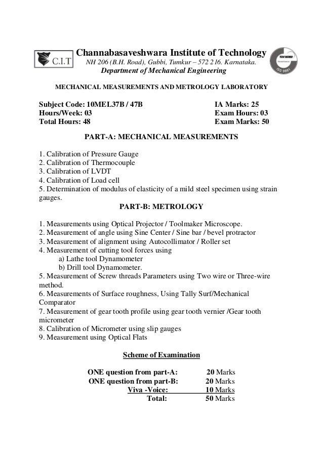 mmm lab manual 10 mel47b rh slideshare net Metrology Lab Floor Plan Metrology Lab Northrop Grumman
