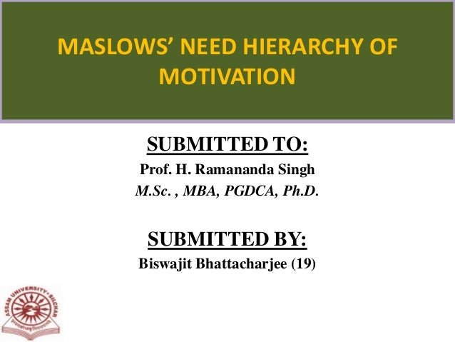 SUBMITTED TO: Prof. H. Ramananda Singh M.Sc. , MBA, PGDCA, Ph.D. SUBMITTED BY: Biswajit Bhattacharjee (19) MASLOWS' NEED H...