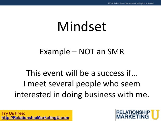 © 2014 Gina Carr International. All rights reserved.  Mindset Example – NOT an SMR  This event will be a success if… I mee...