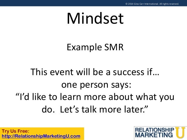 © 2014 Gina Carr International. All rights reserved.  Mindset Example SMR This event will be a success if… one person says...